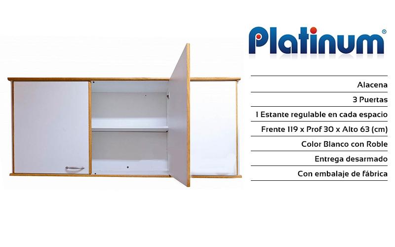 Alacena Platinum 3 Puertas Rivera Hogar